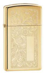 1652B, Venetian Design, Lustre Engraving, High Polish Brass Finish, Slim Case