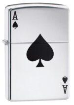 24011, Black Ace of Spades Card, Color Image, High Polish Chrome Finish