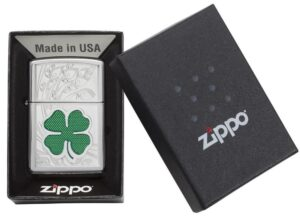 24699, Green & Silver Shamrock, Color Image & Auto Engraving, High Polish Chrome Finish