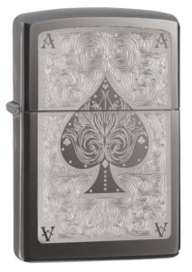 Black Ice Ace Filigree Engraved Windproof Lighter standing at a 3/4 angle