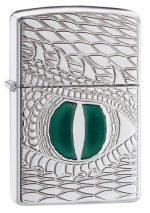 28807, Green Dragon Eye, Deep Carve, Epoxy Inlay, High Polish Chrome, Armor Case