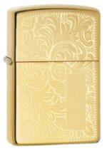 352B, Venetian Lighter with Initial Panel, Lustre Engraving on High Polish Brass Finish