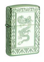 Armor® High Polish Green Elegant Dragon standing at a 3/4 angle