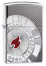 Armor® Poker Chip Design Windproof Lighter standing at a 3/4 angle